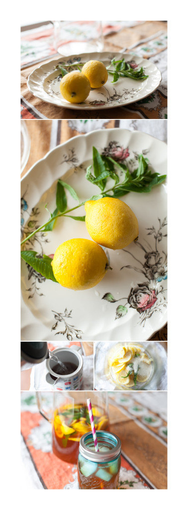 Lemon Balm Iced Tea Lemonade Collage